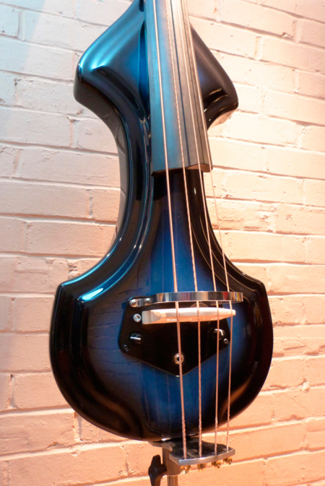 KK Baby Bass electric upright bass model KB1 blue burst body