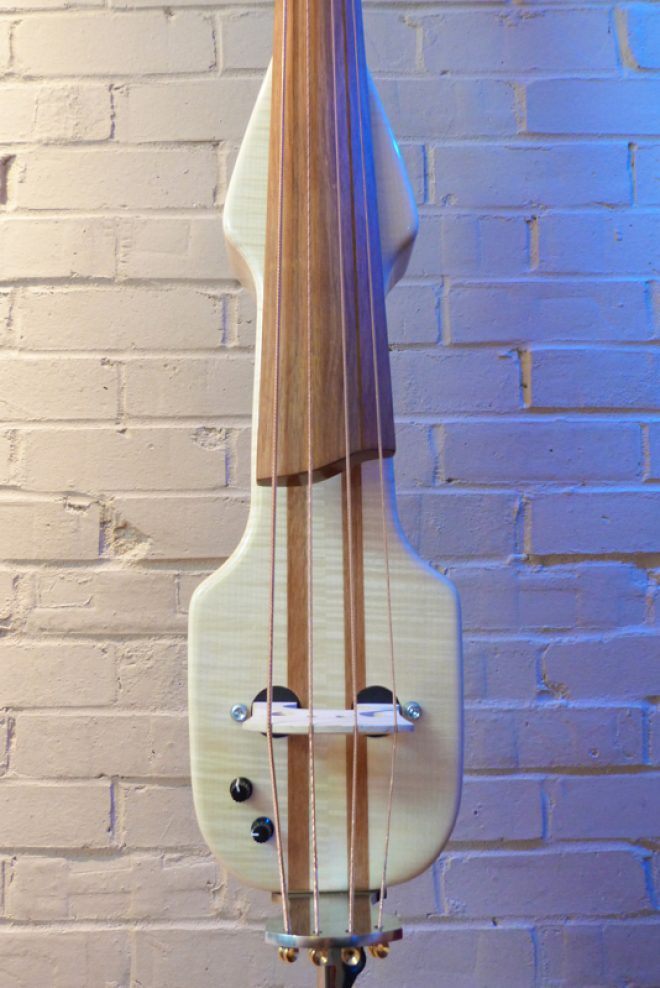 KK Baby Bass model KB2 flamed maple body front – electric upright bass
