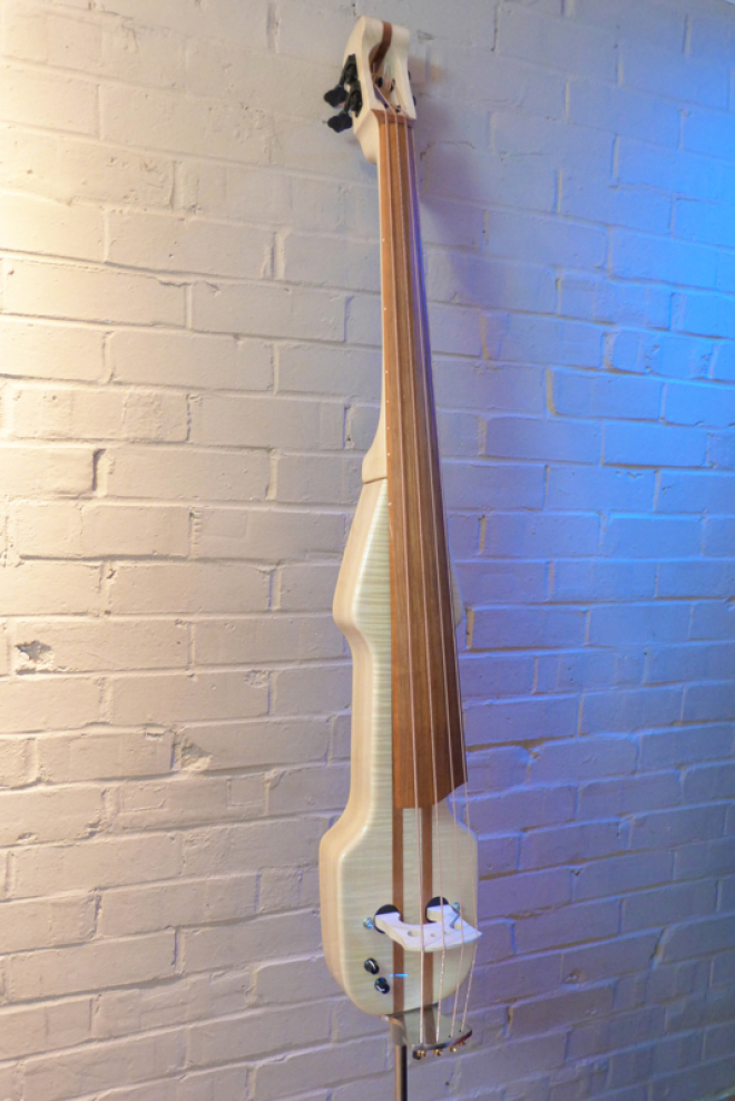 KK Baby Bass model KB2 flamed maple front side – electric upright bass
