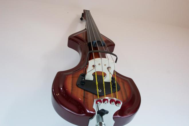 KK Baby Bass model KB1 vino tinto to iroco burst shoot – electric upright bass