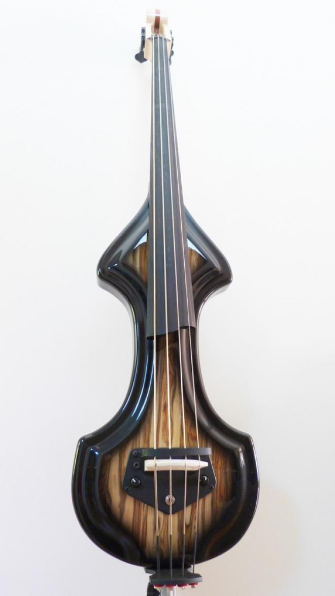 KK Baby Bass model KB1 Spanish Olive burst to black front – electric upright bass