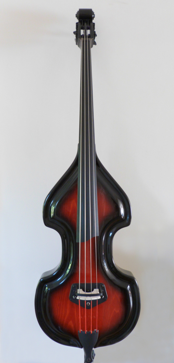 KK Baby Bass Traditional red burst front – electric upright bass