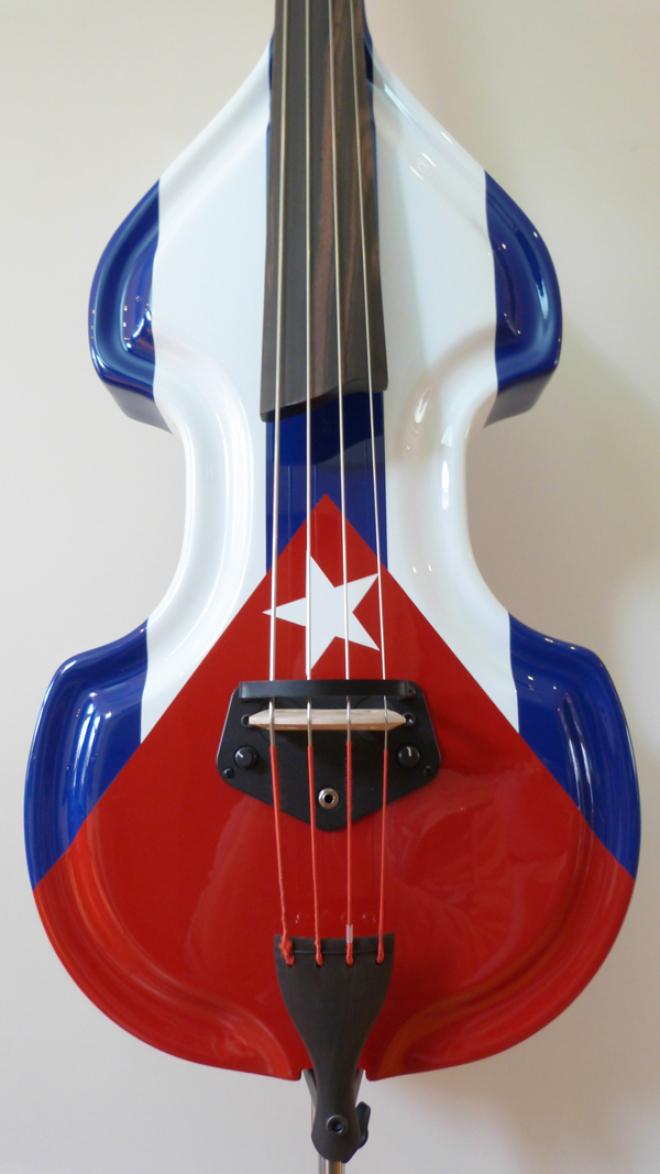 KK Baby Bass Traditional custom Cuban flag body – electric upright bass