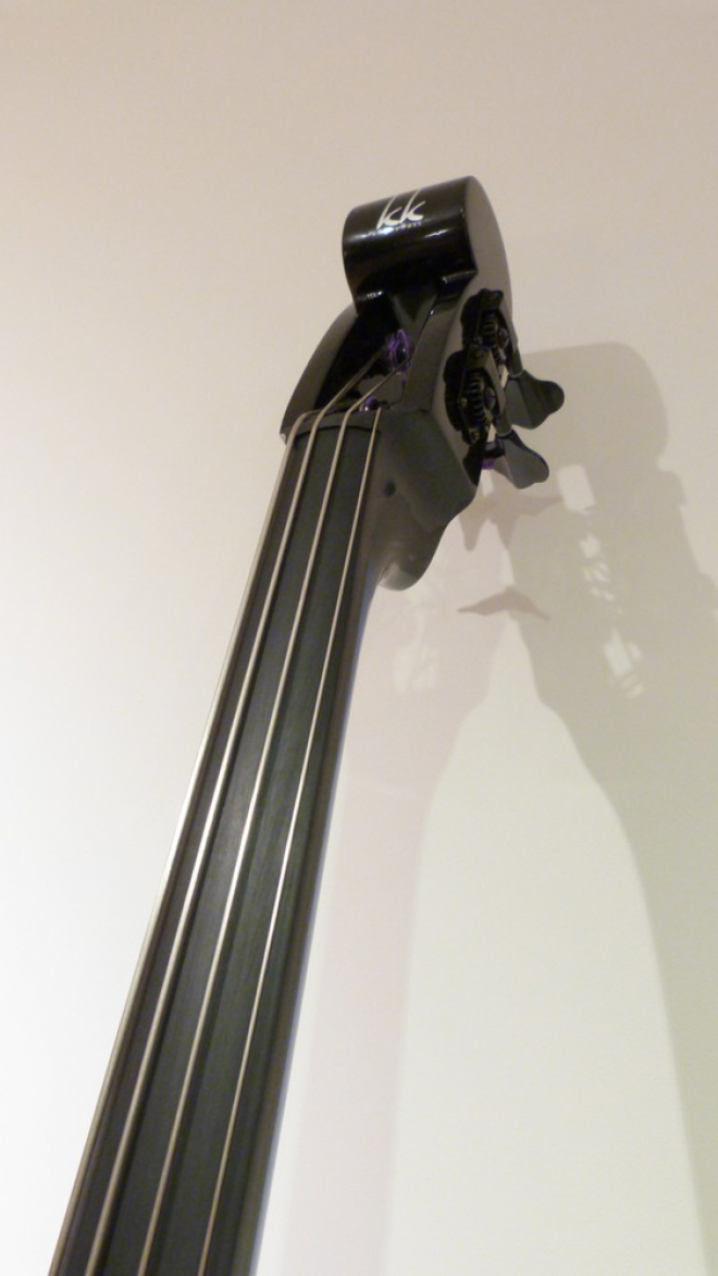 KK Baby Bass model KB1 head scroll – electric upright bass